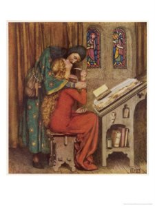 Abelard and Heloise French Scholar and Nun Embracing in the Scriptorium by Eleanor Fortescue Brickdale